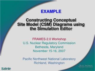 EXAMPLE  Constructing Conceptual Site Model CSM Diagrams using the Simulation Editor