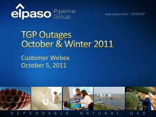 TGP Outages October  Winter 2011