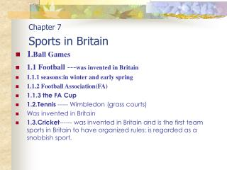 Chapter 7 Sports in Britain