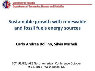 Sustainable growth with renewable and fossil fuels energy sources