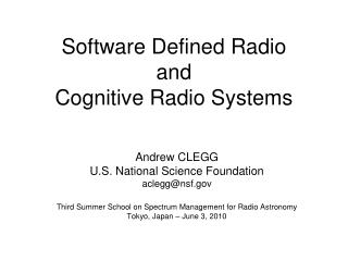 Software Defined Radio and Cognitive Radio Systems