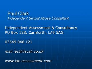 Paul Clark Independent Sexual Abuse Consultant