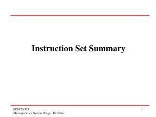 Instruction Set Summary