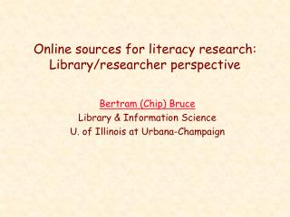 Online sources for literacy research: Library