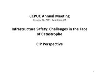 CCPUC Annual Meeting October 24, 2011,  Monterey, CA  Infrastructure Safety: Challenges in the Face of Catastrophe  CIP