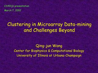 Clustering in Microarray Data-mining and Challenges Beyond