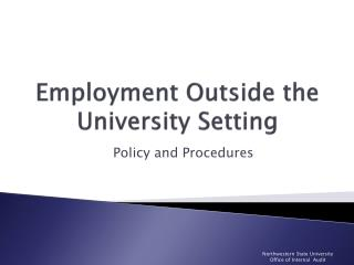 Employment Outside the University Setting