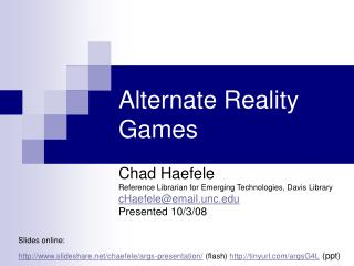 Alternate Reality Games