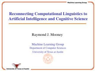 Reconnecting Computational Linguistics to Artificial Intelligence and Cognitive Science