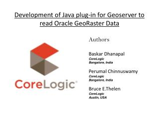 Development of Java plug-in for Geoserver to read Oracle GeoRaster Data