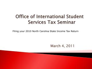 Office of International Student Services Tax Seminar