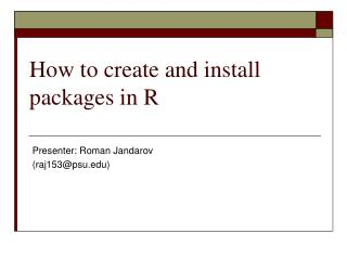 How to create and install packages in R