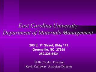 East Carolina University Department of Materials Management