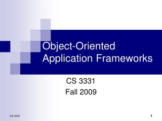 Object-Oriented Application Frameworks