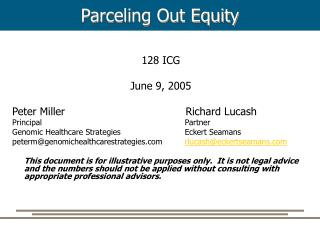 Parceling Out Equity