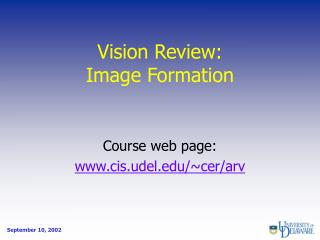 Vision Review: Image Formation