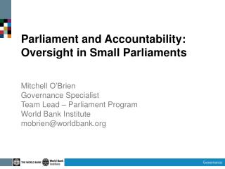 Parliament and Accountability: Oversight in Small Parliaments