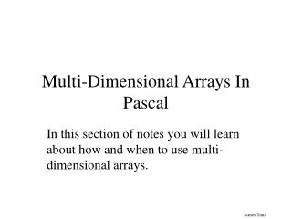 Multi-Dimensional Arrays In Pascal