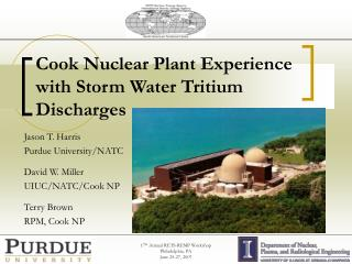 Cook Nuclear Plant Experience with Storm Water Tritium Discharges