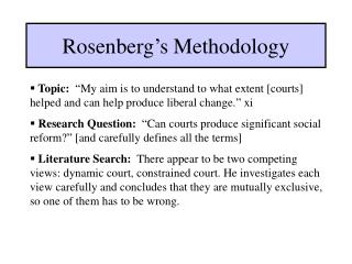 Rosenberg s Methodology