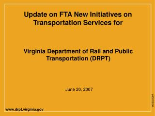 Virginia Department of Rail and Public Transportation DRPT