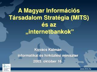 A Magyar Inform ci s T rsadalom Strat gia MITS  s az   internetbankok