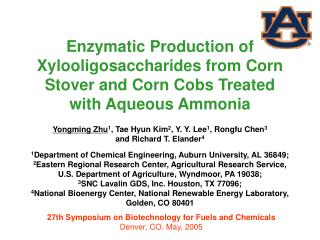 Enzymatic Production of Xylooligosaccharides from Corn Stover and Corn Cobs Treated with Aqueous Ammonia