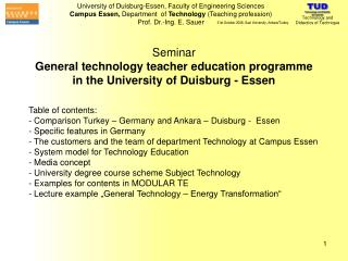 Seminar General technology teacher education programme in the University of Duisburg - Essen