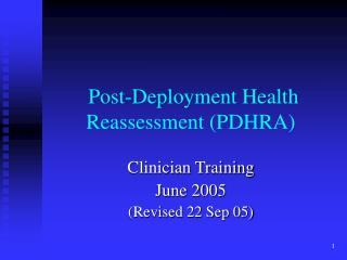 Post-Deployment Health Reassessment PDHRA