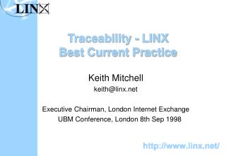 Traceability - LINX Best Current Practice