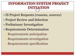 INFORMATION SYSTEM PROJECT INITIATION