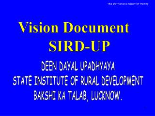 Vision Document    SIRD-UP