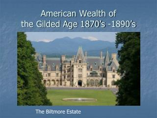 American Wealth of  the Gilded Age 1870 s -1890 s