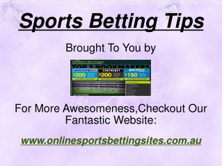 Sports Betting Tips From Online Betting Sites