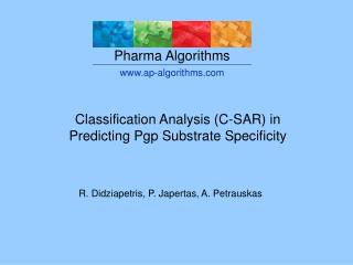 Classification SAR in the prediction of P-glycoprotein ...