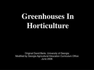 Greenhouses In Horticulture