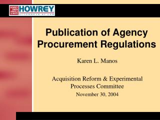 Publication of Agency Procurement Regulations