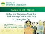 ICWES 16 Bid Proposal