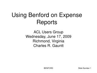 Using Benford on Expense Reports