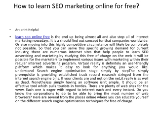 How to learn SEO marketing online for free?