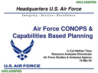 Air Force CONOPS    Capabilities Based Planning