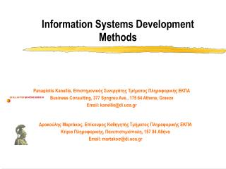 Information Systems Development Methods