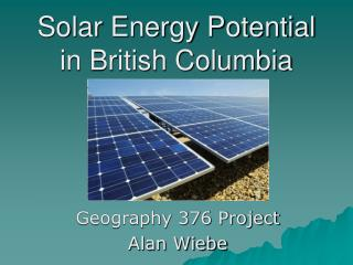 Solar Energy Potential in British Columbia