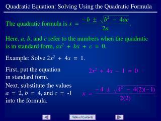 Quadratic Equation: Solving Using the Quadratic Formula