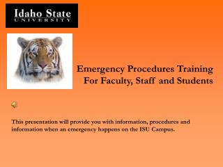 Emergency Procedures Training For Faculty, Staff and Students