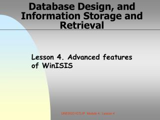 Database Design, and Information Storage and Retrieval