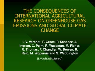 THE CONSEQUENCES OF INTERNATIONAL AGRICULTURAL RESEARCH ON GREENHOUSE GAS EMISSIONS AND GLOBAL CLIMATE CHANGE