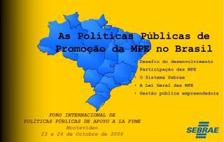 FORO INTERNACIONAL DE POL TICAS P BLICAS DE APOYO A LA PYME Montevideo 23 e 24 de Octubre de 2006