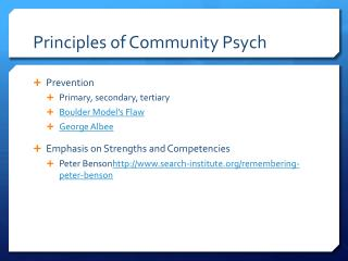 Principles of Community Psych
