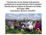 Concept note sur les champs  cole paysans pratiqu s par le projet intrants FAO et r sultats obtenus dans les r gions de